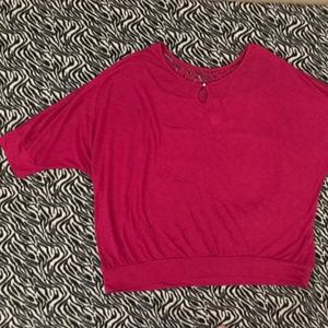 Tops - Pink Lace Shoulder Tunic Shirt Blouse Plus Womens